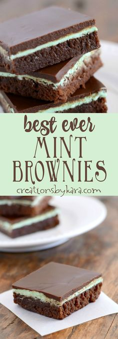 Recipe for mint brownies with a creamy mint frosting and chocolate topping. People tell me all the time that these are the best mint brownies ever! Unbeatable mint brownie recipe. -creationsbykara.com