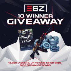 Win $100 Steam Gift Card, $100 V-BUCKS, or $125 CS:GO Skin