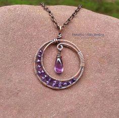 Jls: w/b pretty w/a lentil too - - Amethyst Moon Necklace Wire Wrapped Handmade One Of A Kind Purple Crescent Moon Pendant Boho Hippie Artisan Jewelry February Birthstone by PeacefulVibesJewelry on Etsy Wire Pendant, Pendant Jewelry, Beaded Jewelry, Moon Jewelry, Wire Jewelry Making, Wire Wrapped Jewelry, Wire Jewelry Designs, Jewelry Crafts, Copper Jewelry