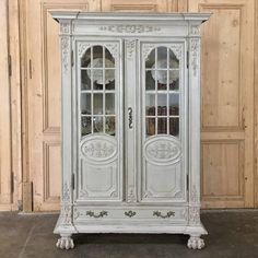 19th Century French Louis XIV Painted Oak Bookcase, Bibliotheque, Vitrine 2