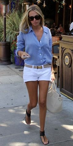 chambray shirt and white denim shorts.