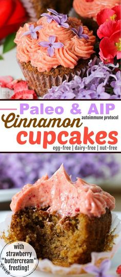 "Cinnamon Cupcakes with Strawberry ""Buttercream"" Frosting {Paleo & AIP} are dairy-free and SO delicious! Make them for a special occasion or just for a treat! 