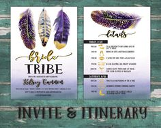 A personal favorite from my Etsy shop https://www.etsy.com/listing/515545445/bride-tribe-boho-itinerary-bachelorette