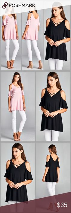Flutter Sleeve Tunic Top Open shoulder Tunic with flutter sleeves. V Neck line and back line. Made of rayon jersey and spandex. Colors pink or black.                                                                                                    Blue romper   Small  Bust 40 Length 29   Medium  Bust 44 Length 30   Large  Bust 48 Length 31 Threads & Trends Tops