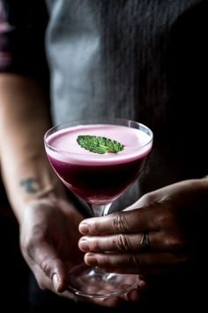 Blueberry, Dark Cherry and Calvados Cocktail