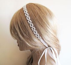 Pearl Bridal Hair White Pearl Headband Wedding Pearl by ADbrdal, $34.00