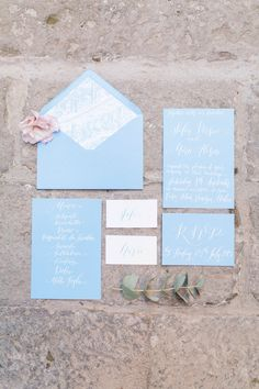Powder Blue Blue Serenity Wedding Stationery Menu Cards | Weddings In Venice | Styling Holden Bespoke | Amy Fanton Photography | http://www.rockmywedding.co.uk/ethereal-lovers-venice/