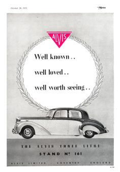Alvis Car Motor Advert 1951 - Alvis 3 Litre