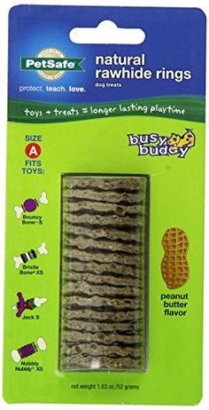 PetSafe Busy Buddy Refill Ring Dog Treats for select Busy Buddy Dog Toys Peanut Butter Flavored Natural Rawhide Size A -- Check this awesome product by going to the link at the image.