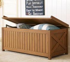 Hampstead Teak Storage Trunk - Honey | Pottery Barn  Back patio