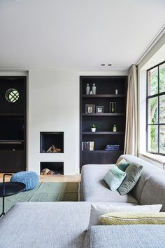 A dream in the dunes, Highly Exclusive, living room and garden are an inspiration. Living Room Interior, Home Living Room, Home Interior Design, Interior Architecture, Interior Ideas, Bookshelves In Living Room, Living Room With Fireplace, Spacious Living Room, Beautiful Interiors