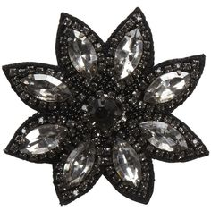 Deepa Gurnani Crystal Flower Clip - Black ($36) ❤ liked on Polyvore featuring accessories, hair accessories, flowers, fillers, jewelry, black flower hair accessories, flower hair accessories, beaded hair accessories, deepa gurnani and black hair accessories
