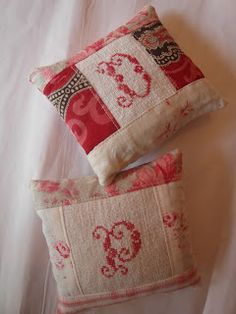 Lavender sachets - Antique French fabrics