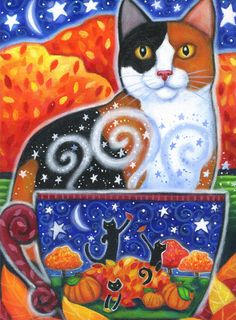 Autumn Magic 2009 - 7 x 9 1/2 inch print - by Brenna White - moon stars fall autumn halloween cat calico coffee