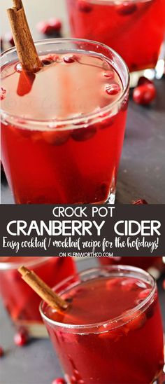 Crock Pot Cranberry Cider a delicious hard cider made in the slow cooker. Perfect Thanksgiving drink, non-alcoholic or with a splash of rum!