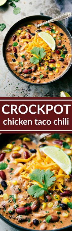 Dump it and forget about it crockpot creamy chicken taco chili with chicken, lots of beans and veggies, and plenty of good spice! via chelseasmessyapro...