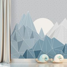 Mountain Mural with Moon and Stars Wallpaper Kids Triangle