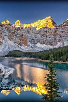 Lake Moraine Magic in Banff National Park ~   nature     reflections    #nature  https://biopop.com/