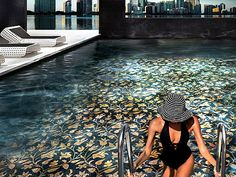 swimming pool with mosaic tile