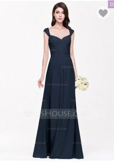 3b8617083d6 Navy A-Line Princess Sweetheart Floor-Length Chiffon Bridesmaid Prom Dress   fashion  clothing  shoes  accessories  weddingformaloccasion   bridesmaiddresses ...