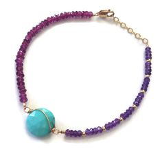 Amethyst Rhodolite garnet and Arizona turquoise by stonepoetry