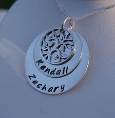 Personalized Sterling silver Hand stamped necklace with family tree pendant. $75.00, via Etsy.