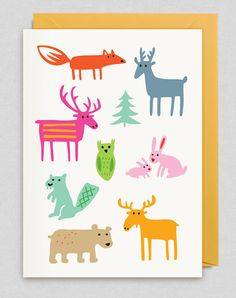 Packed with energy and originality, Woodland Animals Card Greeting by Swedish design and illustration duo Bengt and Lotta are sure to raise a smile. Woodland Creatures, Woodland Animals, Forest Animals, Lagom Design, Mundo Animal, Animal Cards, Pattern Illustration, Cute Cards, Print Patterns