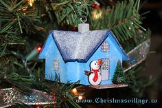 Glitter House from ChristmasVillage.co Christmas Crafts, Christmas Ornaments, Glitter Houses, Card Stock, Bird, Holiday Decor, Outdoor Decor, Home Decor, Decoration Home