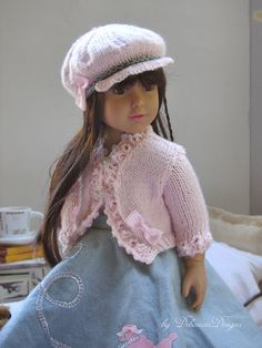 Hand-knitted Bolero Jacket & Cap set for Kidz n Cats dolls by Debonair Designs using my own exclusive patterns