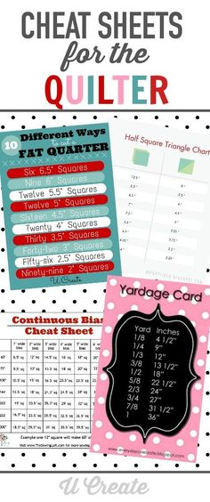 Cheat Sheets for the Quilter - simply print, and display near your sewing machine for easy access to sewing and quilting tips!