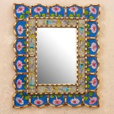 Funky Mirrors, Painted Mirrors, Vintage Mirrors, Painted Wood, Mirror Mosaic, Wall Mirror, Mirror Painting, Mirrors Wayfair, Kids Wallpaper