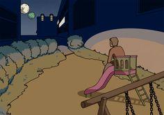 Tengo y las dos Lunas sobre el slide frente al apartamento donde Aomame se esconde