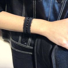 Black Macrame Bracelet with Swarovski crystals by alsoljewels