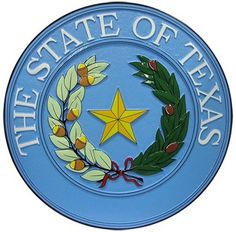"The Seal of Texas was adopted in 1845 by the Texas State Constitution from an original design of the Republic of Texas seal. It states, ""There shall be a seal of the State, ... The said seal shall be a star of five points, encircled by an olive and live oak branches, and the words 'the State of Texas.'"""