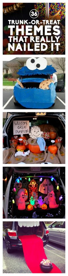 Decorated Car Faces - Great ideas for trunk or treat! Click for more. #halloween #Monster.