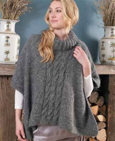 Erika - Cabled poncho free knitting pattern: Knit this ladies' classic winter poncho style cape with roll-neck and front cable design. Designer: Martin Storey Free poncho pattern