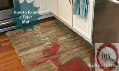 How to paint a foam playmat, floor mat, do it yourself, DIY, vintage restaurant sign Diy Kitchen Flooring, Kitchen Mats, Kitchen Rug, Kitchen Sink, Kitchen Decor, Foam Flooring, Plywood Floors, Laminate Flooring, Diy Shows