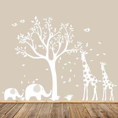 White Nursery Tree Decal Animal Nursery Art Baby Nursery
