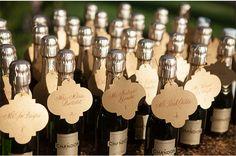 Champagne Bottle Escort Cards / Melissa Musgrove Photography / via StyleUnveiled.com