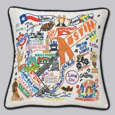 Austin themed pillow - you could totally create a less cluttered funky Austin pillow that would sell!