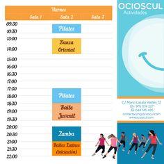Actividades de hoy Viernes: #Pilates #DanzaOriental #Pilates #Zumba #Latinos (iniciación) mas info en ocioscul.com