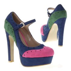 Classic pumps in lilac or blue with colorful patches having approximately 13 cm Cone heel.