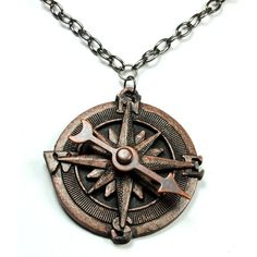 Steampunk Jewelry Compass Necklace Spinning Pointer Compass Rose... (170 DKK) ❤ liked on Polyvore featuring jewelry, necklaces, accessories, steampunk, long necklace, rose pendant, antique pendant necklace, long chain necklace and copper pendant