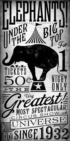 Poster Art - Circus Elephant Vintage Style Kids graphic artwork on canvas 18 x 36 by stephen fowler Pub Vintage, Photo Vintage, Vintage Art, Vintage Style, Vintage Graphic, Circus Art, Circus Theme, Retro Poster, Vintage Posters