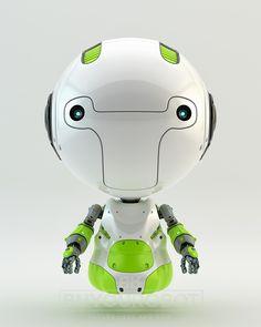 Green air robot. Little robotic child 3d render.