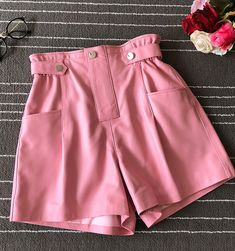 High Waist A-Line Shorts Pink Loose Pants Fashion Slim Leather Shorts Leather Shorts Outfit, Casual Shorts, Loose Pants, Hot Pants, Womens Leather Skirt, Short Skirts, Short Dresses, A Line Shorts, Europe Fashion