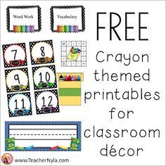 Free Crayon themed classroom decor printables Crayon Themed Classroom, Classroom Jobs, First Grade Classroom, Classroom Decor, Free Teaching Resources, School Resources, Teaching Ideas, Elementary Education, Childhood Education