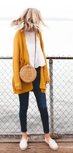#summer #outfits  Mustard Cardigan + Navy Skinny Jeans