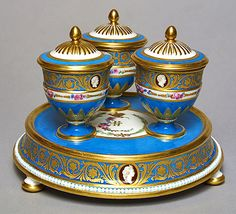 Table centerpiece with three lidded cups for preserves from the Cameo Service 1777 Sevres Porcelain Factory France Soft-paste porcelain; overglaze painting, gilded