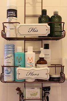 crazy in love with the His\/Hers shower caddy. Caddy was purchased separately from signs. His\/Her signs purchased at Pottery Barn & attached after. How adorable.